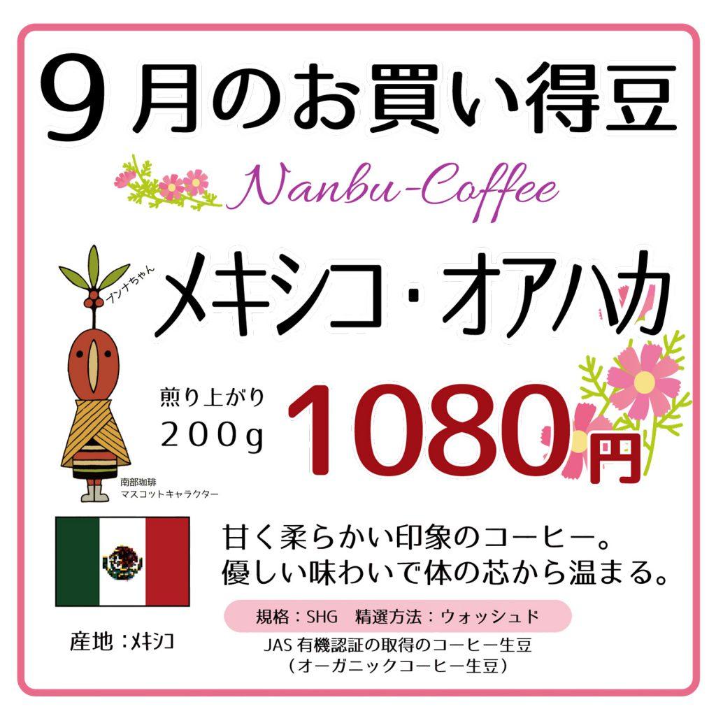 9月のお買い得豆はメキシコ・オアハカ