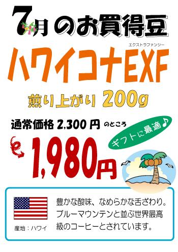 【今月のお買い得豆】7月は「ハワイコナEXF」